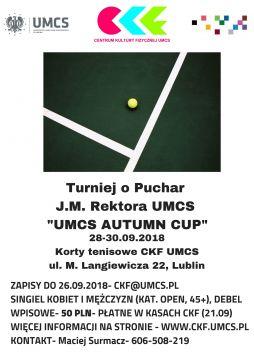 Turniej tenisowy UMCS Autumn Cup 2018 - zmiana terminu