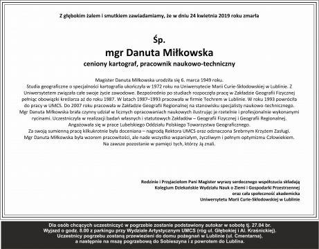 Zmarła Śp. mgr Danuta Miłkowska