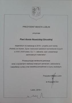 Stypendium Prezydenta Lublina dla dr hab. Anny...