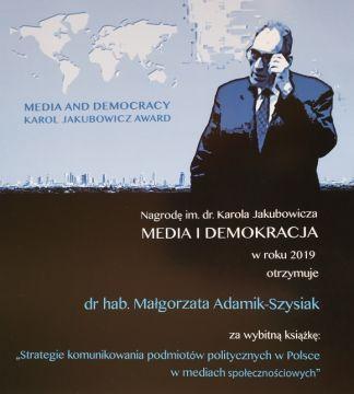 Media and Democracy Karol Jakubowicz Award 2019