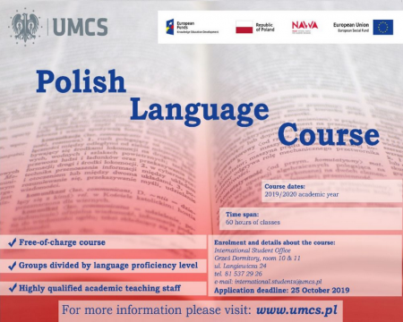 Schedule for the Polish language course at UMCS