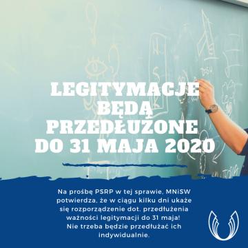 Legitymacje będą przedłużone do 31.05.2020