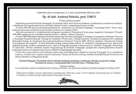 Zmarł śp. dr hab. Andrzej Pielecki, prof. UMCS