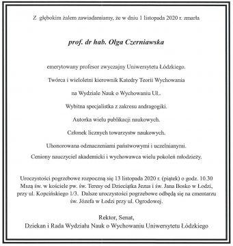 Zmarła prof. dr hab. Olga Czerniawska