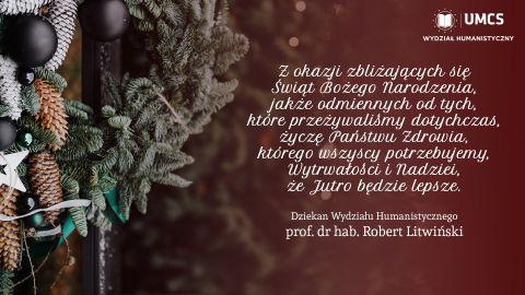 Życzenia świąteczne Dziekana Wydziału Humanistycznego