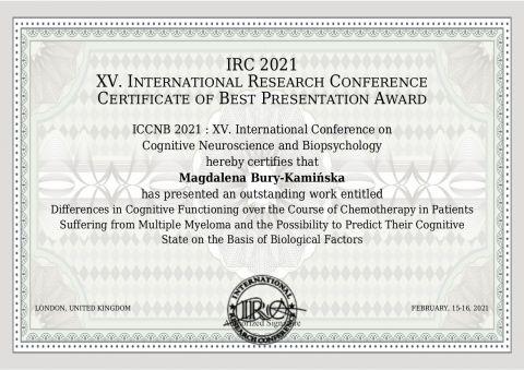 Nagroda za najlepszą prezentację dla mgr Magdaleny...