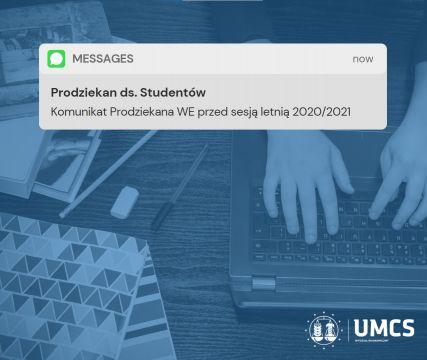 Komunikat Prodziekana przed sesją letnią 20/21