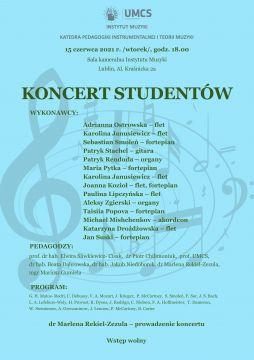 Zaproszenie na Koncert Studentów Instytutu Muzyki UMCS