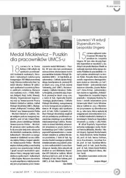 Medal Mickiewicz-Puszkin dla pracowników Uniwersytetu
