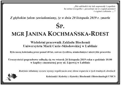 Zmarła ŚP. Janina Kochmańska-Rdest