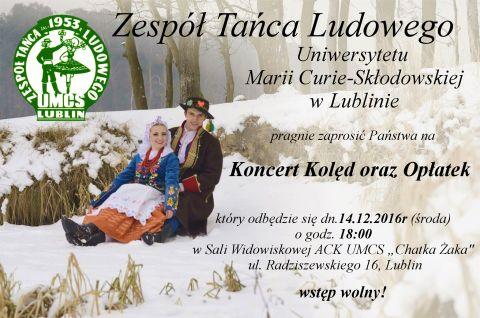 Zaproszenie na koncert kolęd ZTL UMCS