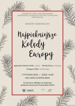 """Koncert noworoczny """"Najpiękniejsze Kolędy Europy"""""""