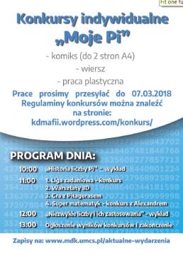 Ulotka informacyjna obchodów Dnia Liczby Pi na 2018 rok
