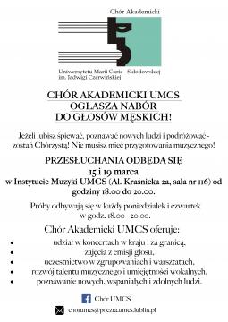 Nabór do Chóru Akademickiego UMCS