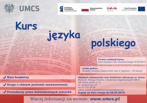 Bezpłatny kurs języka polskiego dla studentów i pracowników