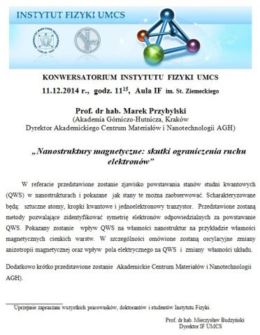 Konwersatorium IF UMCS - 11.12.2014 r.