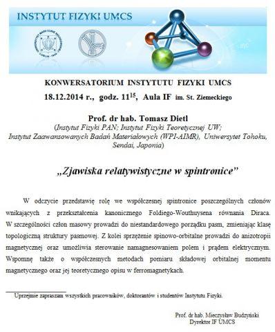 Konwersatorium IF UMCS - 18.12.2014 r.