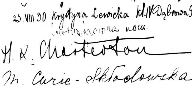 Wpis w Księdze Pamiątkowej lubelskiej Archikatedry 1930 r.