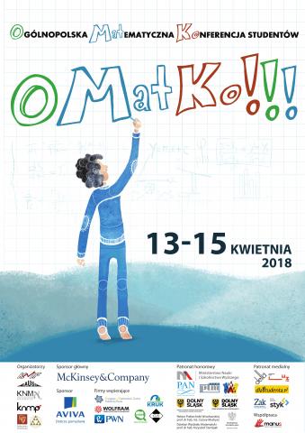 """Plakat Ogólnopolskiej Matematycznej Konferencji Studentów """"OMatKo!!!"""""""