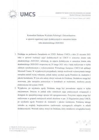 Komunikat Dziekana - organizacja zajęć dydaktycznych w semestrze letnim r.ak. 2020-2021-1.jpg