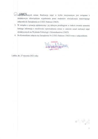 Komunikat Dziekana - organizacja zajęć dydaktycznych w semestrze letnim r.ak. 2020-2021-2.jpg