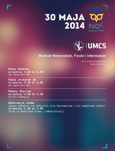 Program Nocy Uniwersytetów 2014 na Wydziale MFiI