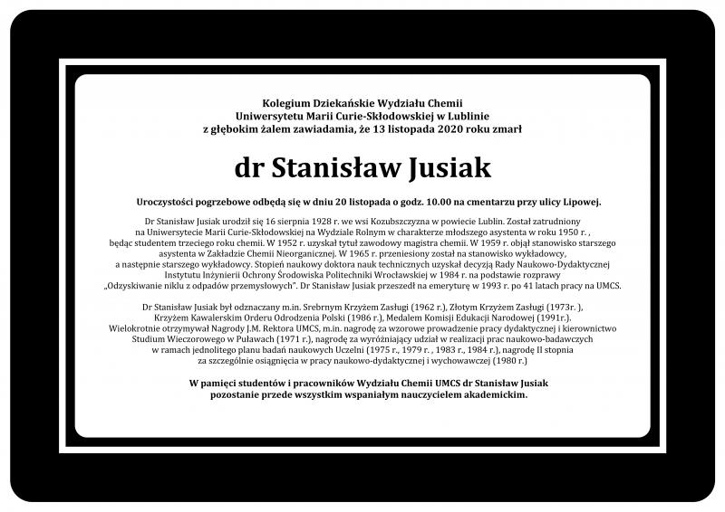 Nekrolog dr Stanisław Jusiak Wydział Chemii UMCS.png