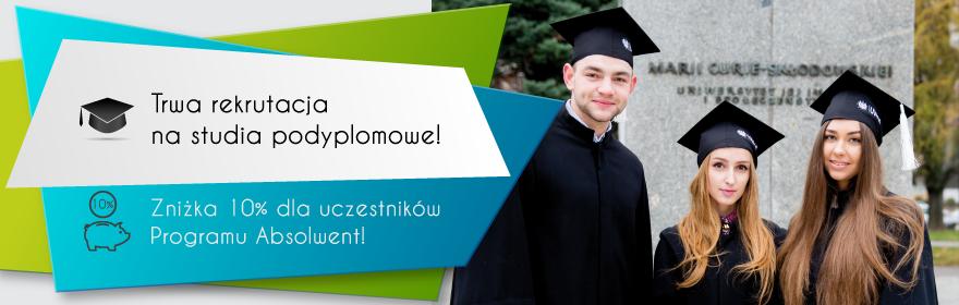 Baner informujący o rekrutacji na studia podyplomowe