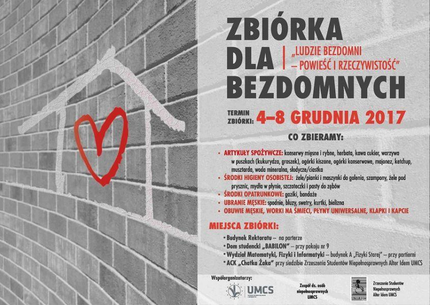 Plakat o zbiórce dla bezdomnych (informacje pokrywają się z tekstem wiadomości)