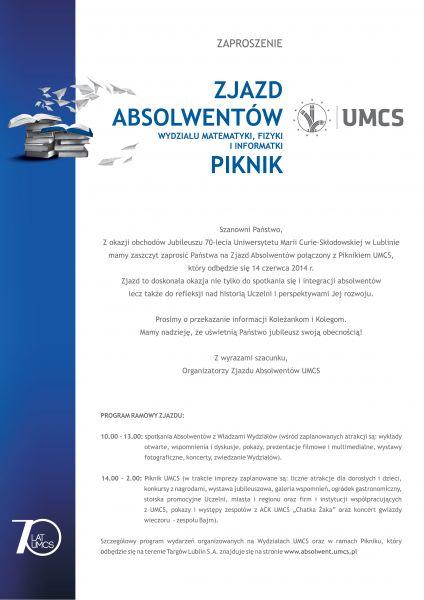 Zaproszenie na Zjazd Absolwentów UMCS i Piknik